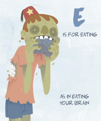 Matt Page illustrates Ellie Sutton's children's zombie ABC